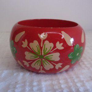 Vintage Red Painted Wood Bangle Bracelet